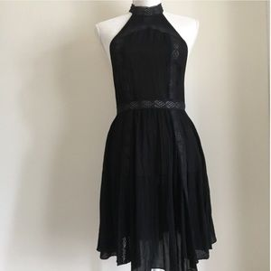 Free People black lace halter dress